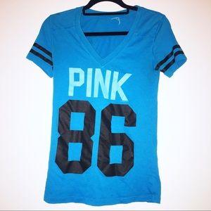 """— Pink — Short Sleeve V-Neck T-Shirt """"Pink 86"""""""